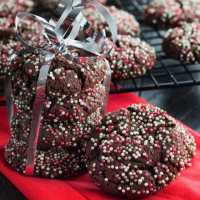 Chocolate Christmas Crinkle Cookies