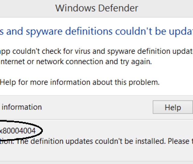 Error Code 0x80004004 Fixed In Windows Defender