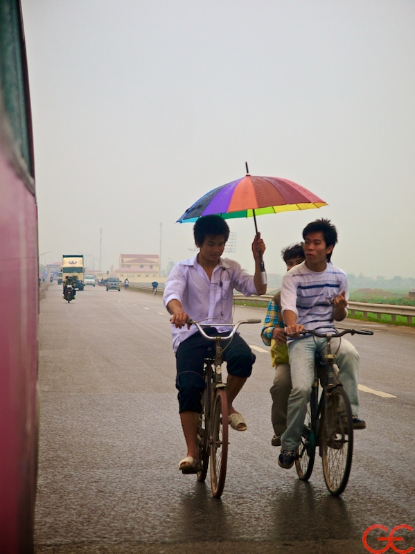 Kids on bicycles in Vietnam