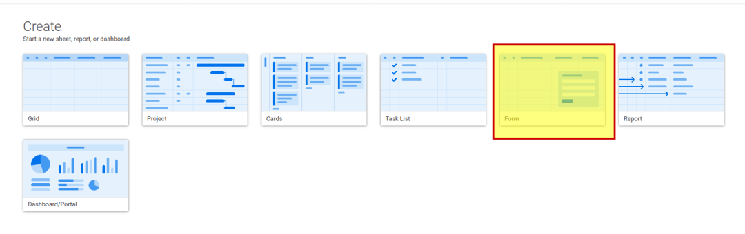 Select Smart Sheet form template