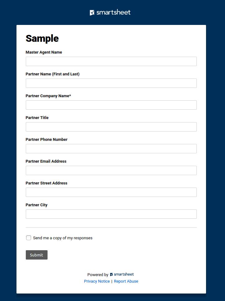 Smart Sheet form