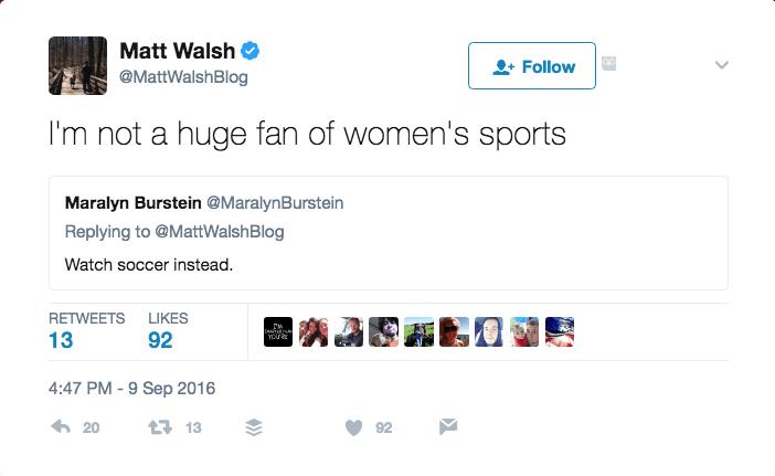 Matt Walsh tweet screencap.