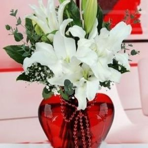 kırmızı kalp vazoda mis kokulu lilyum