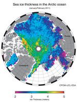 Ártico espesor del hielo marino 2011