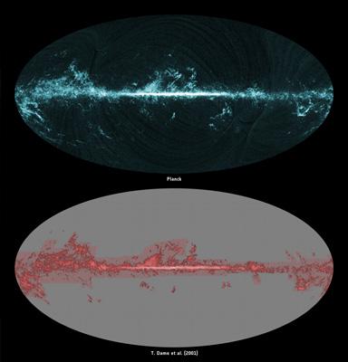 De todo el cielo la imagen de gas molecular visto por Planck y surve anterior