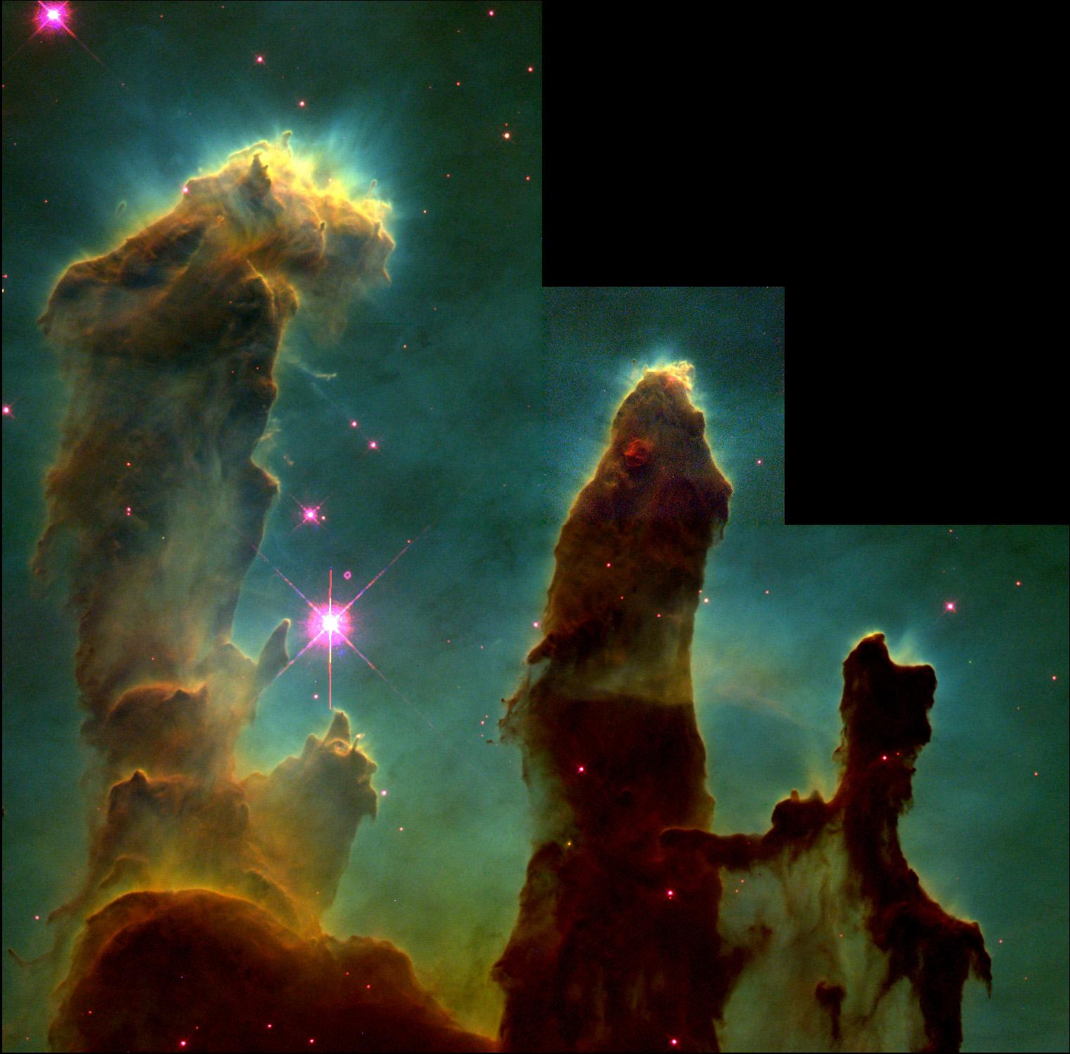 The Pillars of Creation as seen by Hubble Credits: NASA/ESA/STScI, Hester & Scowen (Arizona State University)