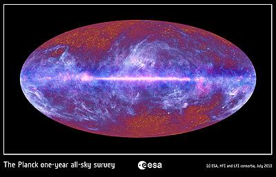 Mapa de um ano de dados da CMB da espaçonave Planck
