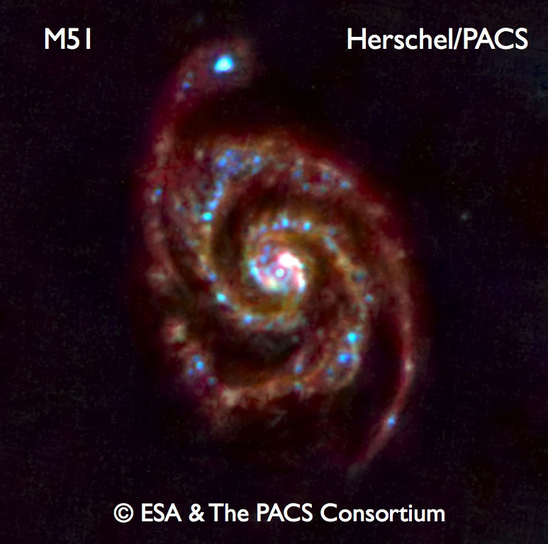 PACS images of M51 in the far-IR