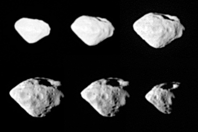 Asteroid Steins seen from a distance of 800 km, taken by the OSIRIS imaging system from two different perspectives. The effective diameter of the asteroid is 5 km, At the top of the asteroid, a large crater, approximately 1.5-km in size, can be seen. Scientists were amazed that the asteroid survived the impact that was responsible for the crater.