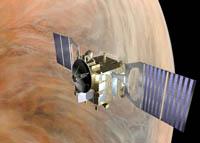 Artist's impression of Venus Express orbiting Venus