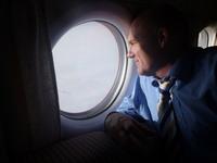 On the plane to Baikonur
