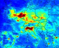 Mapa de Europa Contaminación