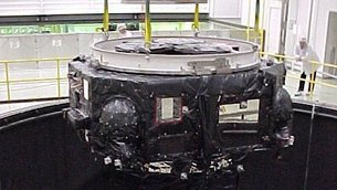 The XMM lower module emerging from the Large Space Simulator in ESTEC in 1999.