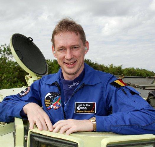 Frank De Winne during emergency evacuation training at Kennedy Space Center, Florida