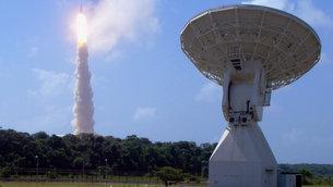 Ariane 5 flight V188 rises above ESA's Estrack station in Kourou, French Guyana