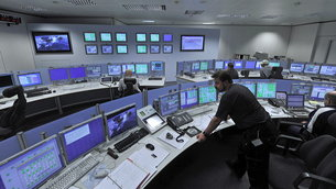 ESA's Estrack tracking station control room at ESOC, the European Space Operations Centre, Darmstadt