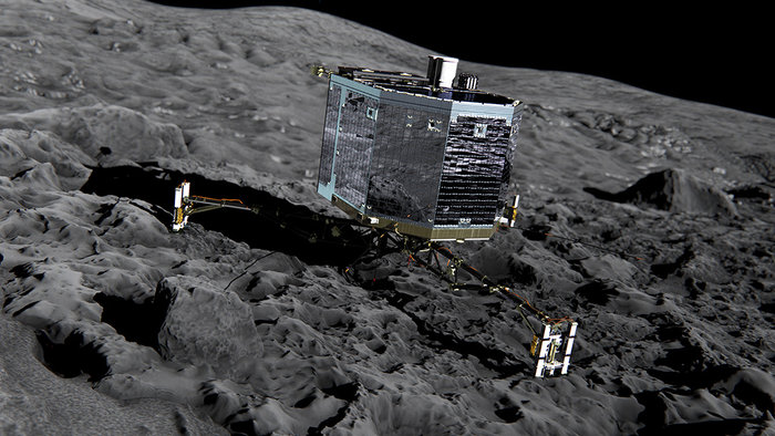 This handout from the European Space Agency shows an artist's impression of Rosetta's lander Philae on the surface of comet 67P/Churyumov-Gerasimenko   Read more at: http://phys.org/news/2016-01-last-chance-contact-space-robot-philae.html#jCp