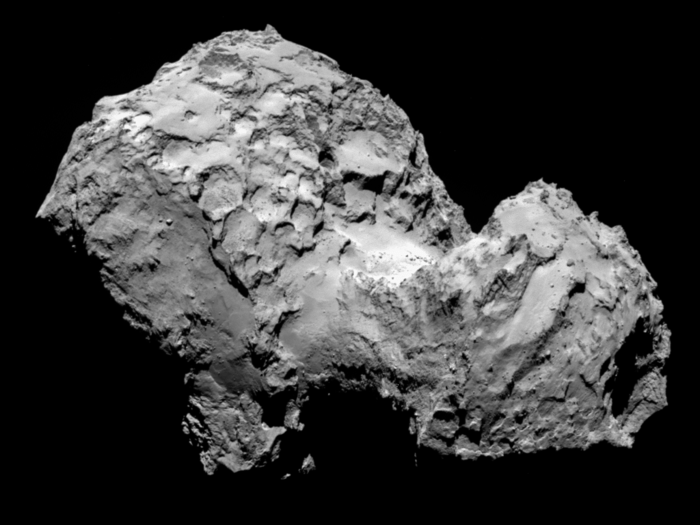 Comet 67P/Churyumov-Gerasimenko by Rosetta's OSIRIS narrow-angle camera on 3 August from a distance of 285 km. The image resolution is 5.3 metres/pixel.
