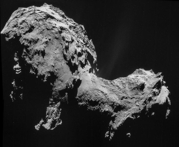 Four-image NAVCAM mosaic of Comet 67P/Churyumov-Gerasimenko, using images taken on 19 September 2014 when Rosetta was 28.6 km from the comet.