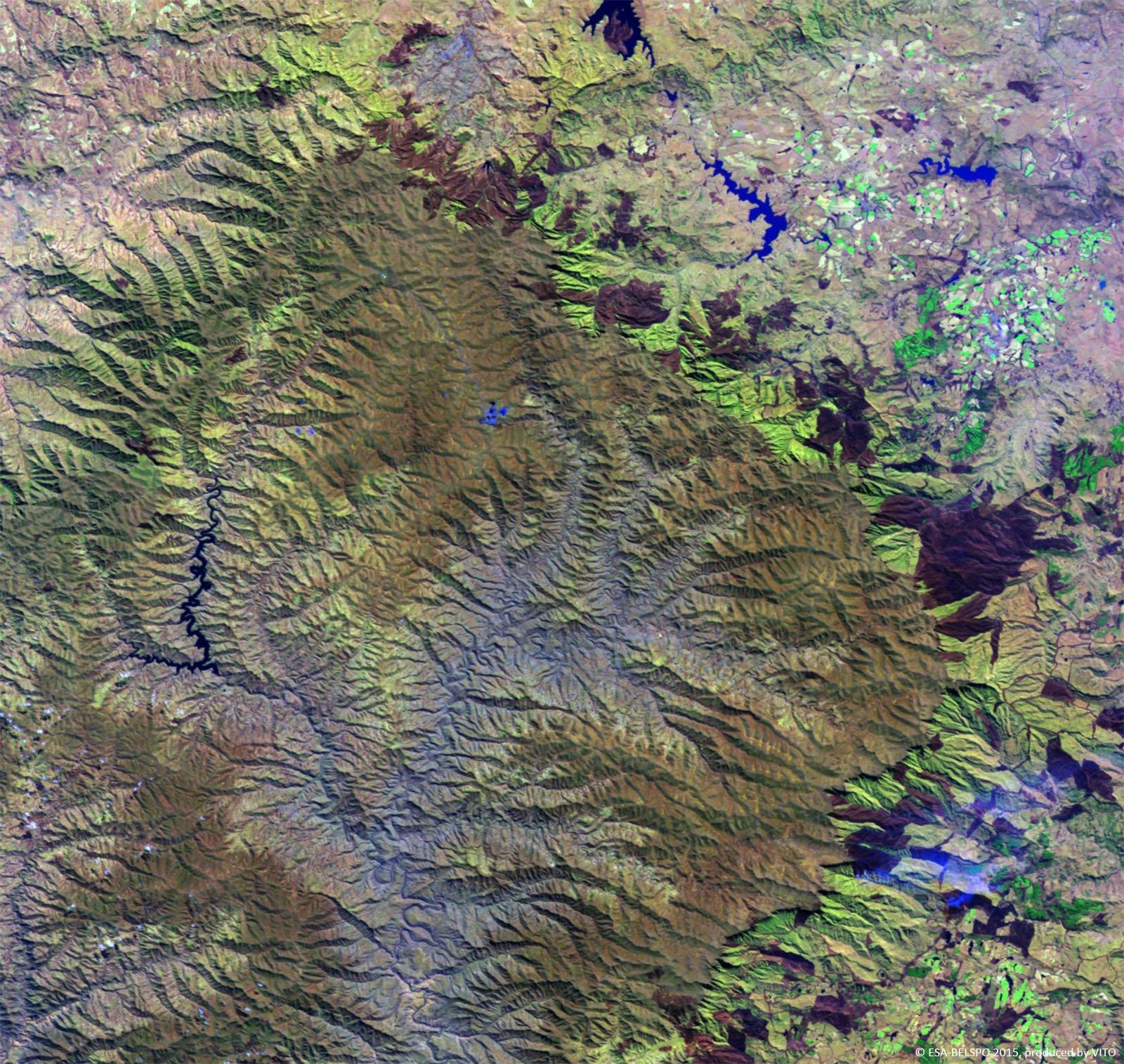 Mafadi peak in the injasuthi are of the south african drakensberg, at 3,450 meters; Esa Proba V Views Drakensberg Mountains