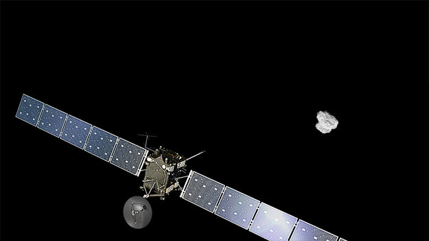 Artist impression of ESA's Rosetta approaching comet 67P/Churyumov-Gerasimenko.