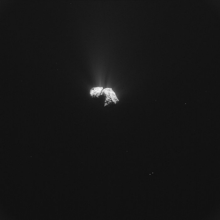 This single frame Rosetta navigation camera image of Comet 67P/Churyumov-Gerasimenko was taken on 18 October 2015 from a distance of 433 km from the comet centre. The image has a resolution of 36.9 m/pixel and measures 37.8 km across.