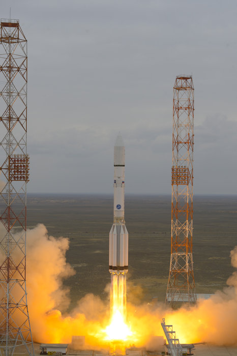 ExoMars 2016 lifted off on a Proton-M rocket from Baikonur, Kazakhstan at 09:31 GMT on 14 March 2016.