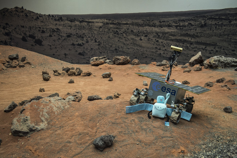 Rover and toy Rosetta in Mars Yard