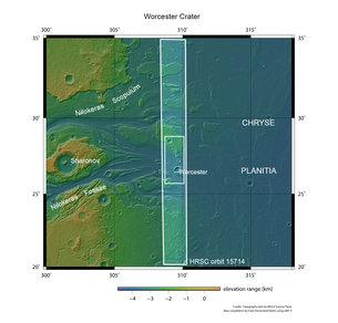 Cráter Worcester en contexto