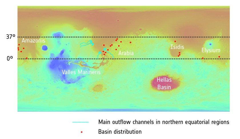 Distribuzione di bacini un tempo acquosi su Marte