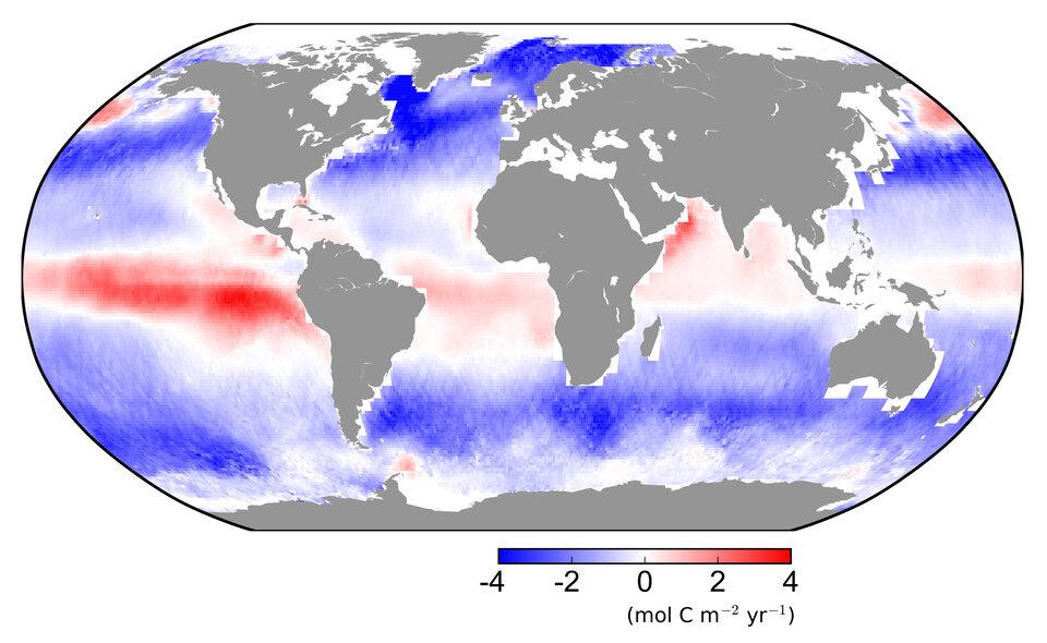 Fluxo de dióxido de carbono entre a atmosfera e o oceano