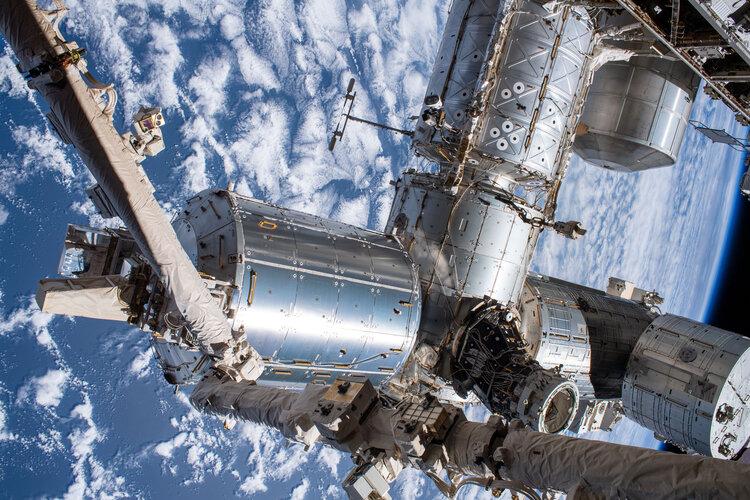 International Space Station laboratories seen during spacewalk