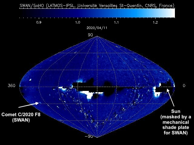 Comet SWAN in all-sky map from the ESA/NASA solar watcher, SOHO