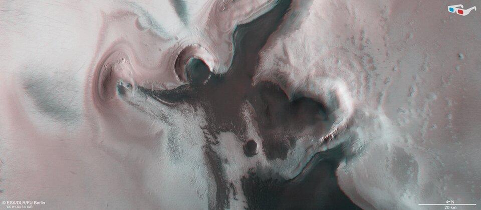 Uma cena festiva perto do polo sul de Marte - em 3D