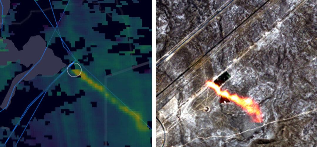 Methane hotspots over a gas pipeline in Kazakhstan