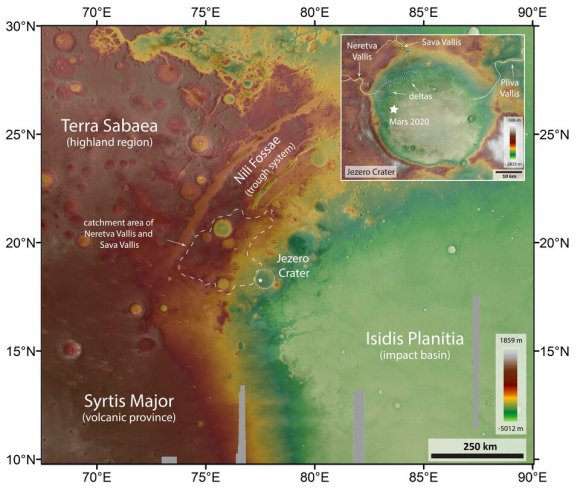 Topografische kaart van de Jezero-krater en omgeving (geannoteerd)