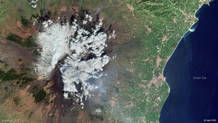 Mount Etna smoke plumes