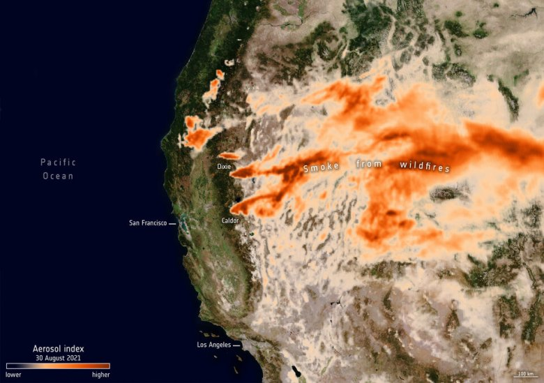 Aerosols from California's fires