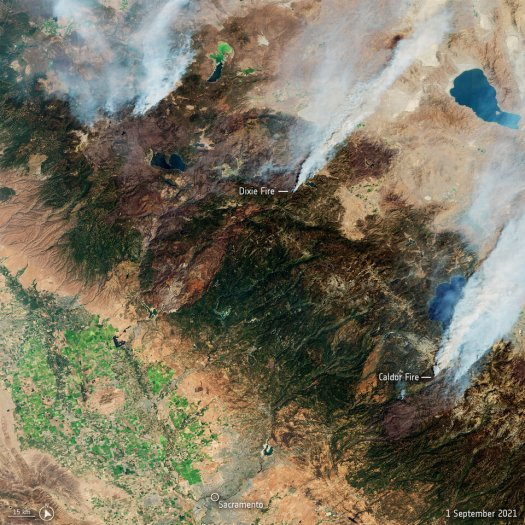 California fires captured by the Copernicus Sentinel-2 mission