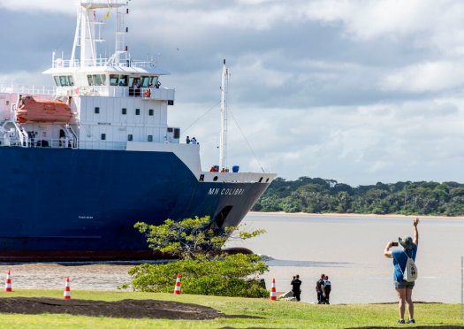 The James Webb Space Telescope has arrived safely at Pariacabo harbour in French Guiana