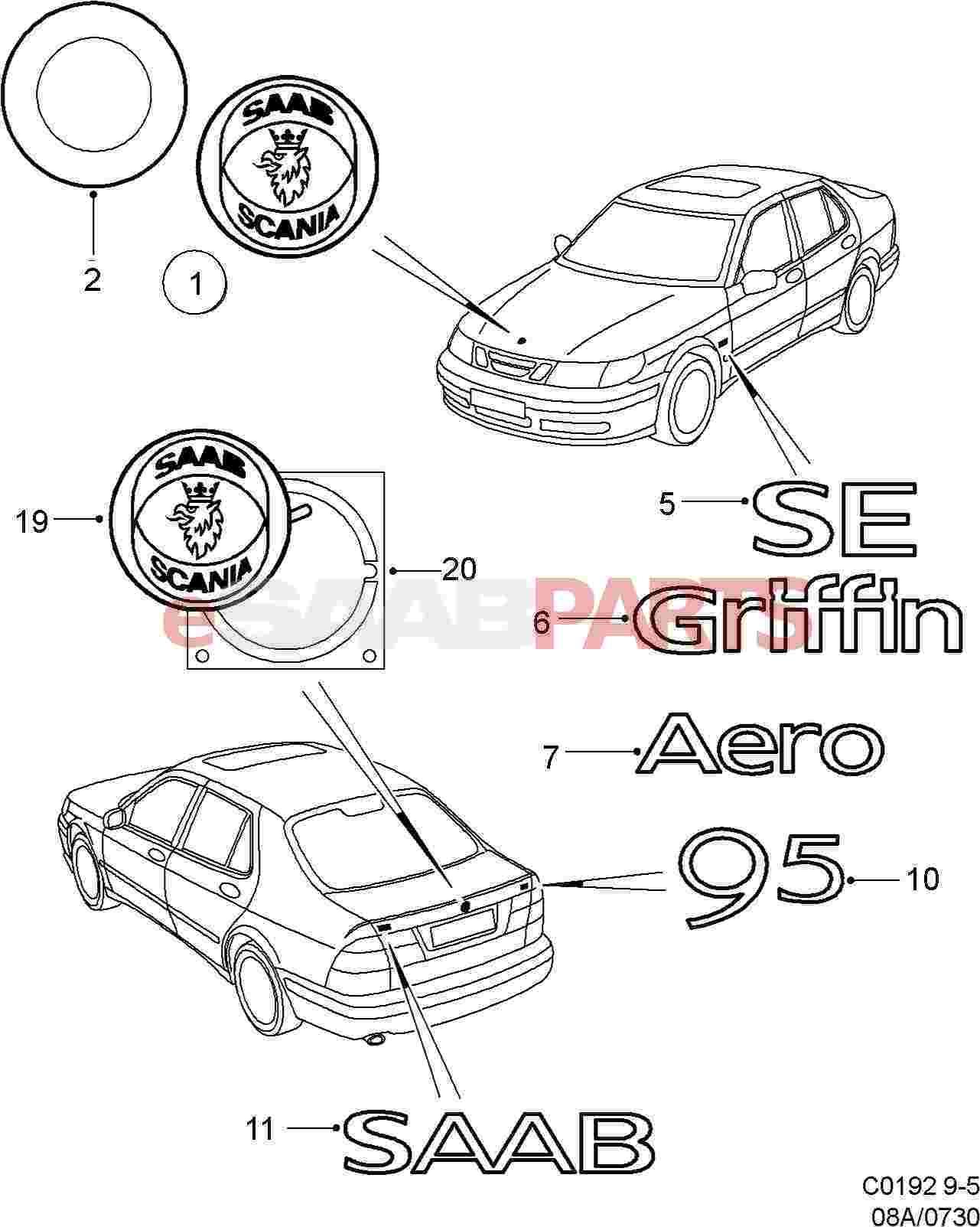Saab Hood Emblem Badge Front Saab Griffin