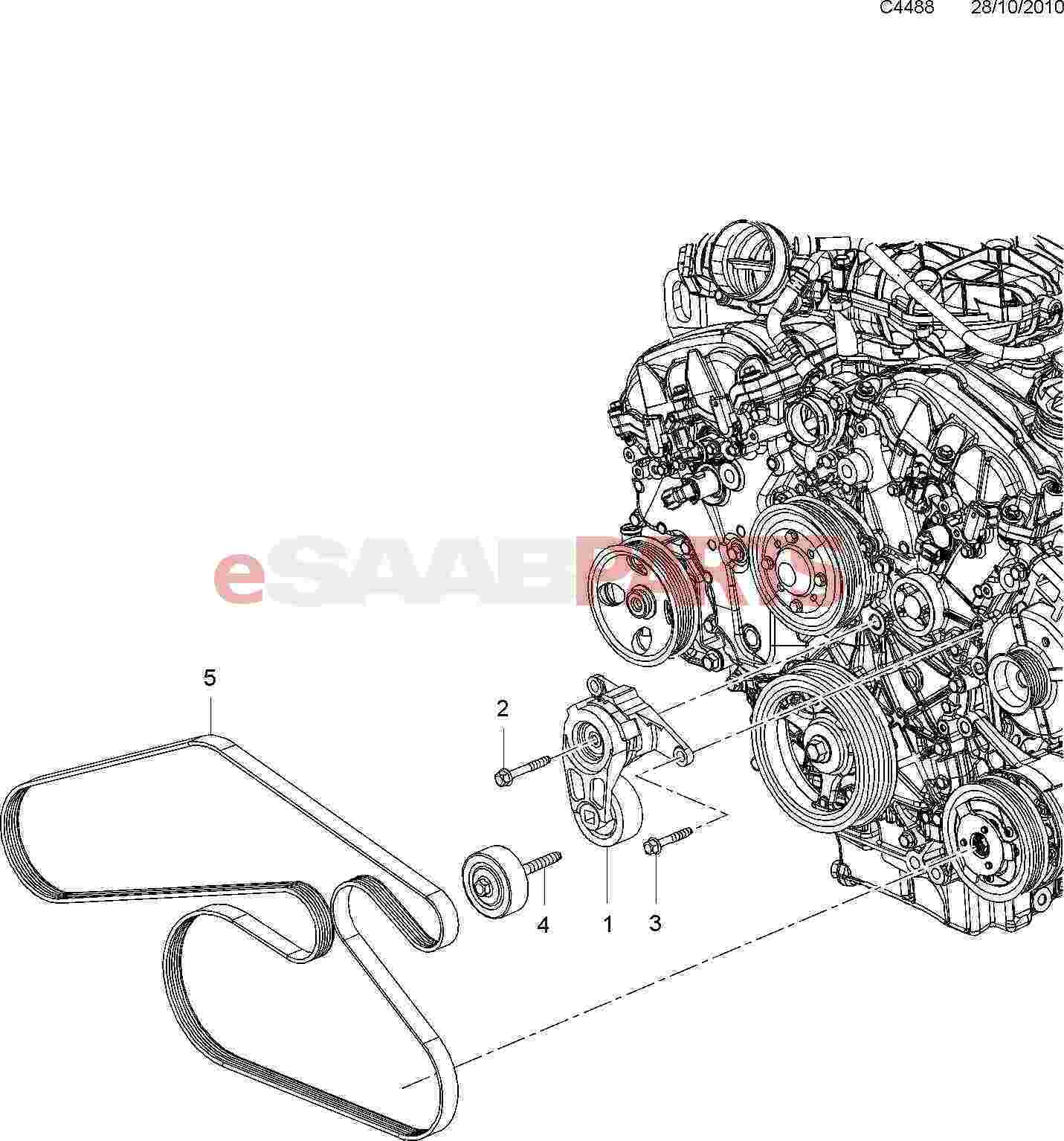 Saab Serpentine Belt Tensioner 2 8t V6
