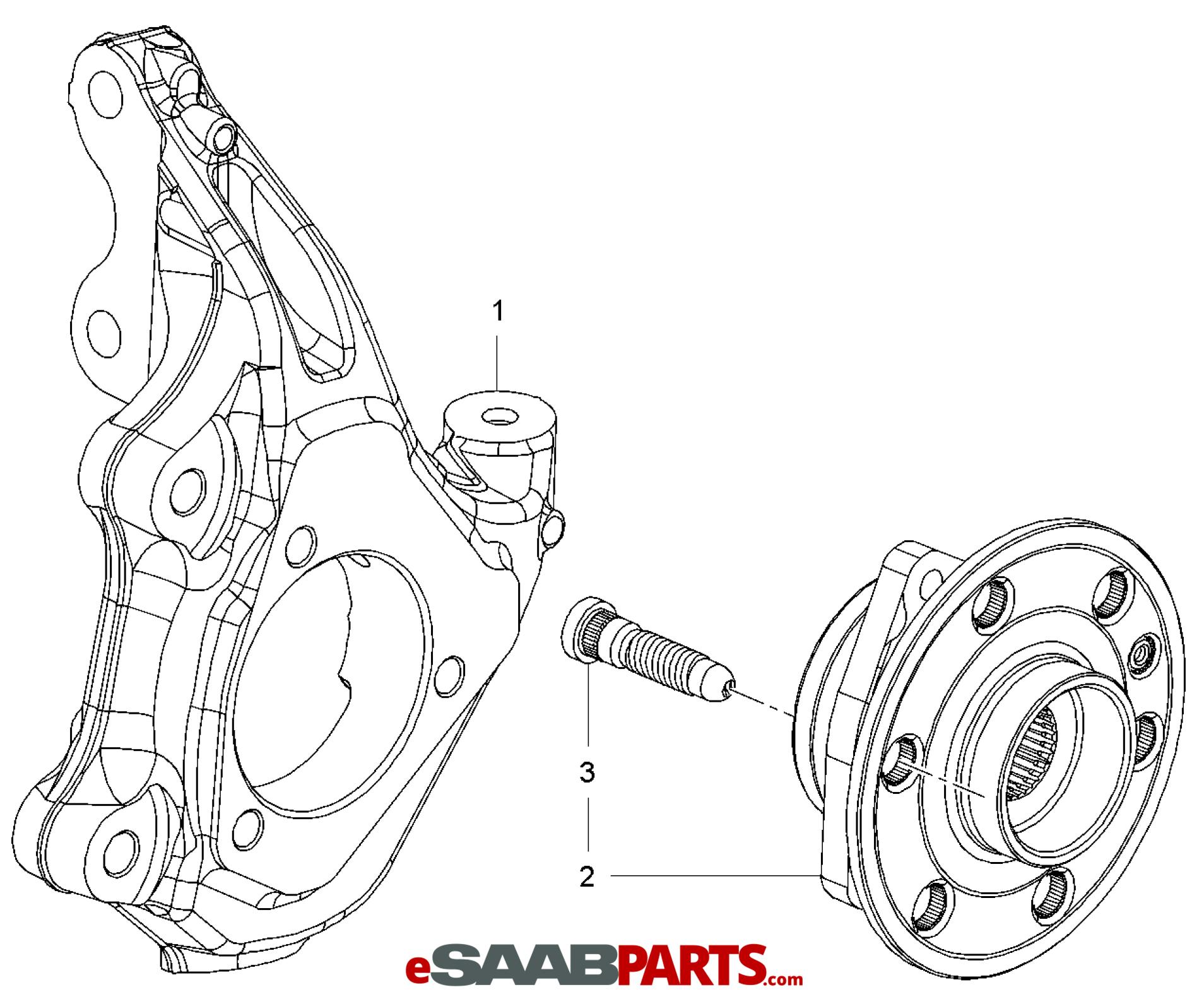 Saab Wheel Hub W Bearing 9 4x