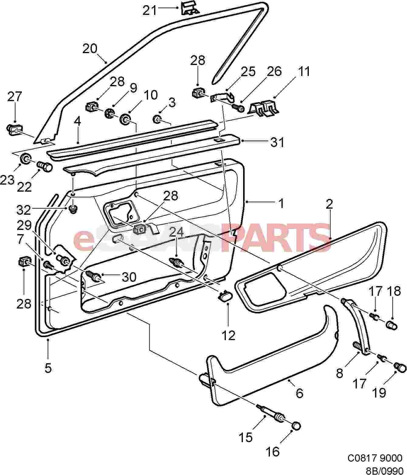 4818910 saab door panel genuine saab parts from esaabparts