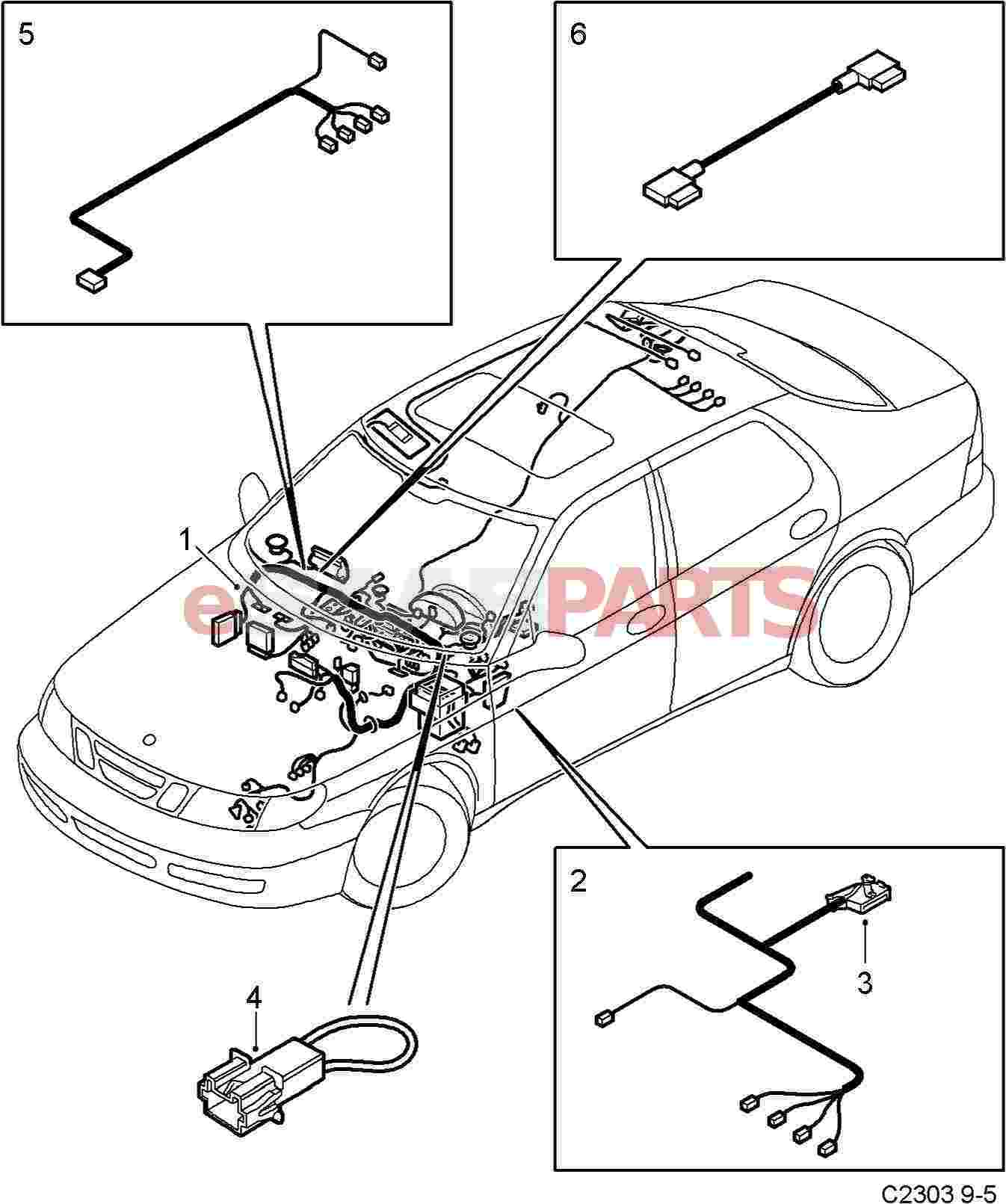 Esaabparts saab 9 5 9600 > electrical parts > wiring harness > instrument panel
