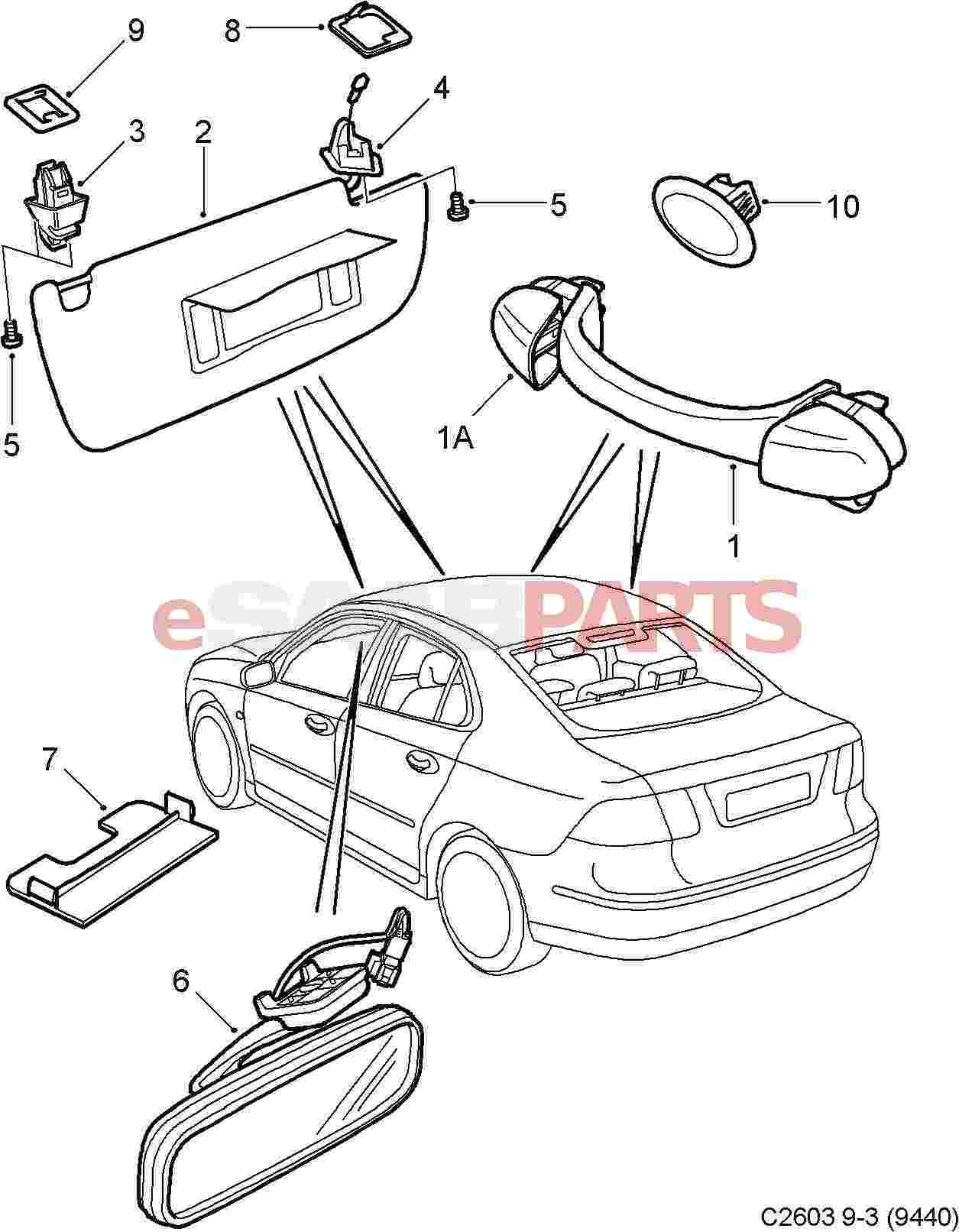 Saab Auto Dimming Rear View Mirror W O Garage Opener Or Compass