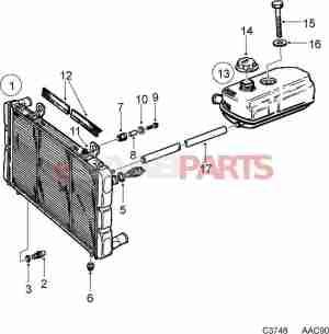 [7549876] SAAB Coolant Expansion Tank (C900)  Genuine Saab Parts from eSaabParts