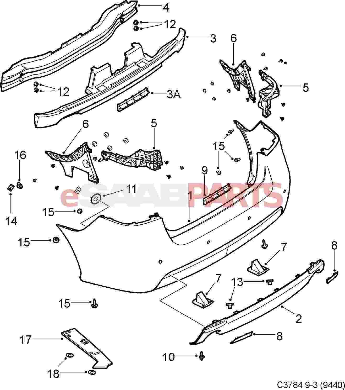 Saab Aero Rear Diffuser Spoiler W Dual