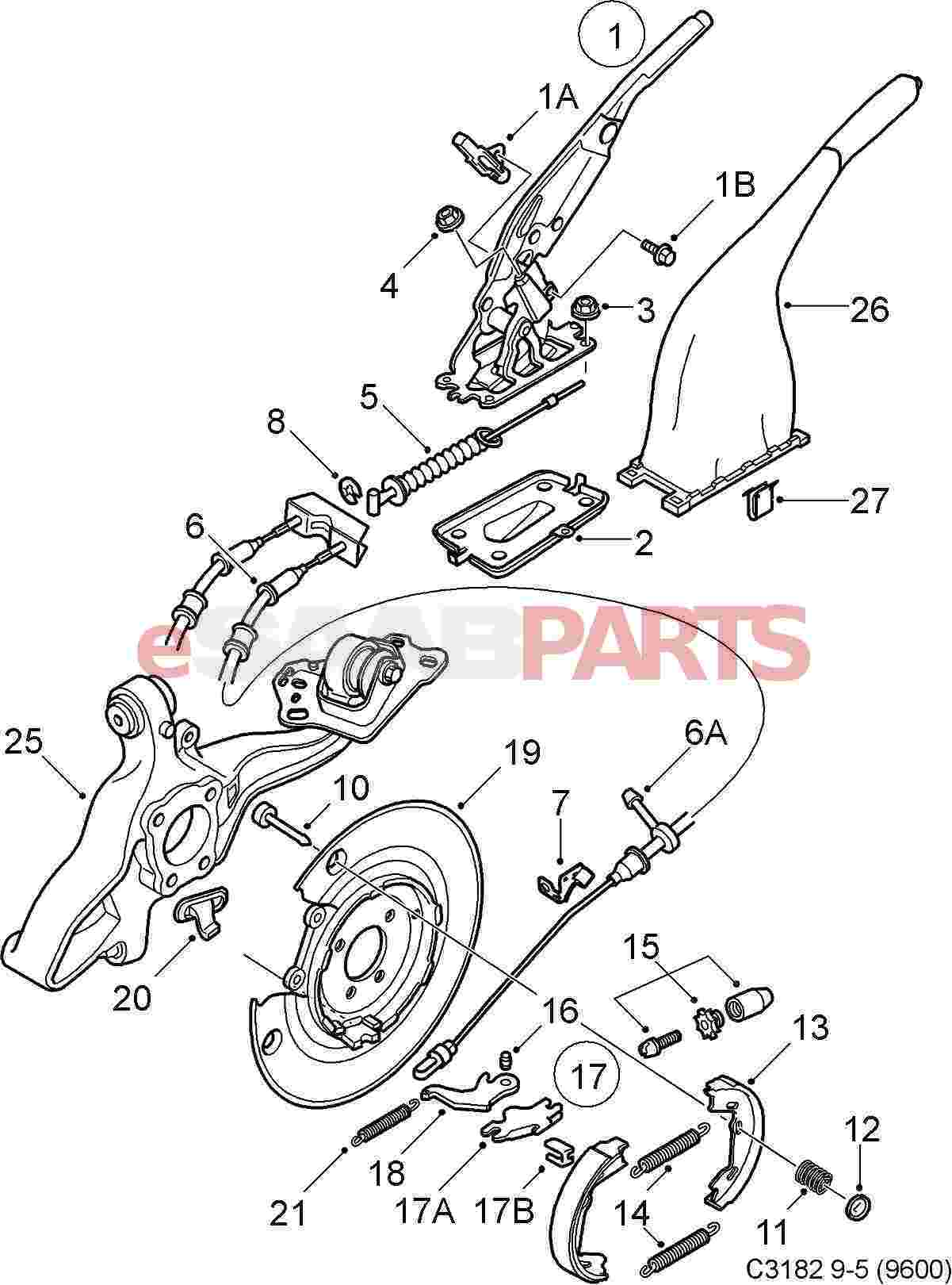 Saab Parking Brake Lever