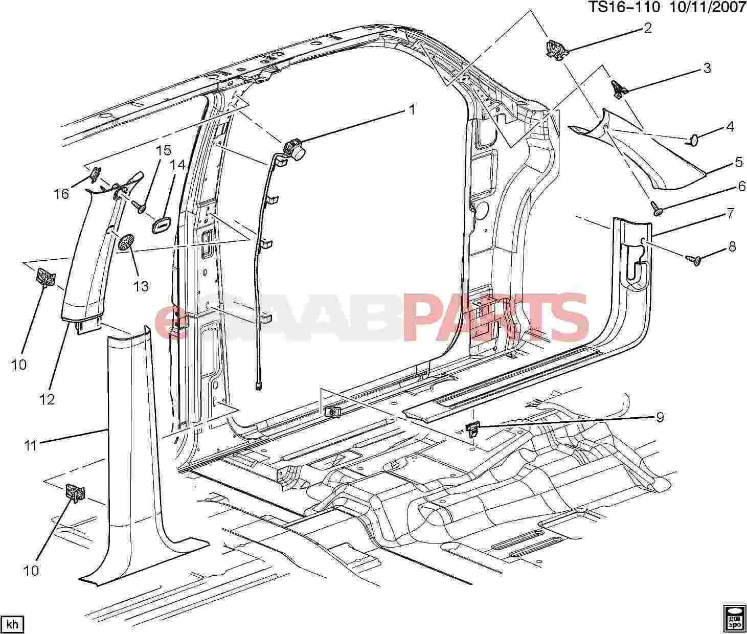 Saab Retainer Front S D Sill Tr Plt